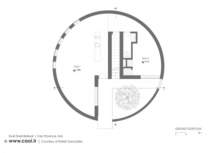 Snail Shell Retreat in Iran Ground Floor Plan