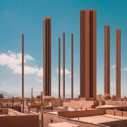 Retro futurism photomontage about Iranian architectural skyscrapers in villages  2
